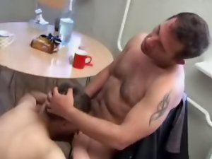 Big old guy enjoys drilling right young ass right on the kitchen table