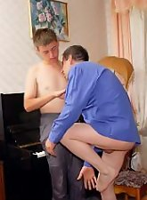Old piano teacher just can't stop fucking this twink
